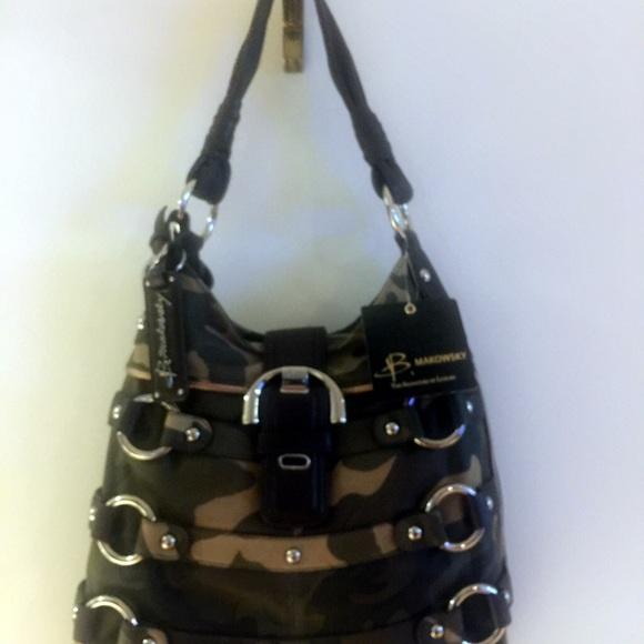 Bruce Makowsky Handbags - Bruce Makowsky Leather Camo Shoulder Bag